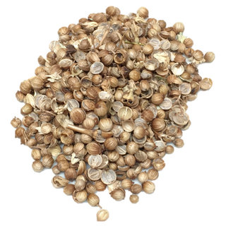 Whole and broken coriander seeds